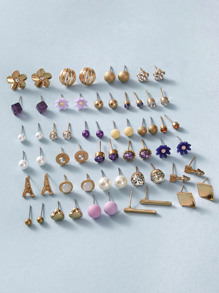 30pairs Rhinestone & Pearl Decor Stud Earrings