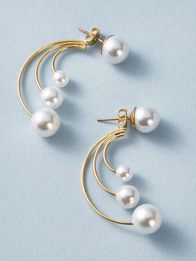 1pair Faux Pearl Decor Arc Design Earring Jackets