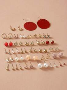 30pairs Rhinestone & Pearl Decor Earrings