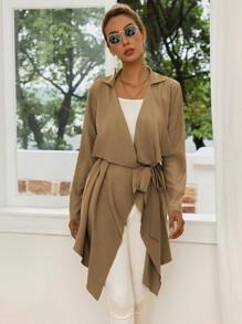 Waterfall Asymmetrical Hem Belted Coat