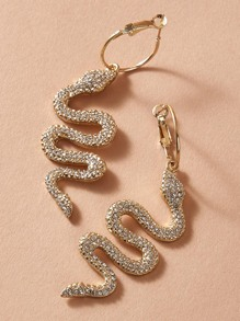 1pair Rhinestone Engraved Serpentine Drop Earrings