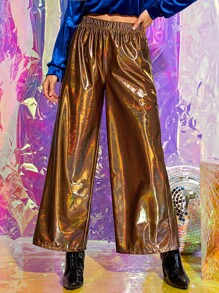 Metallic Reflective Wide Leg Pants