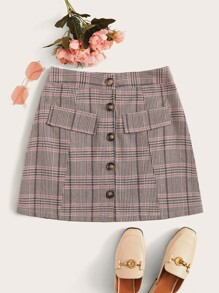 Button Front Glen Plaid Mini Skirt