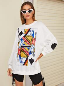 Graphic Print Drop Shoulder Sweatshirt