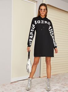 Letter Print Drawstring Hoodie Dress