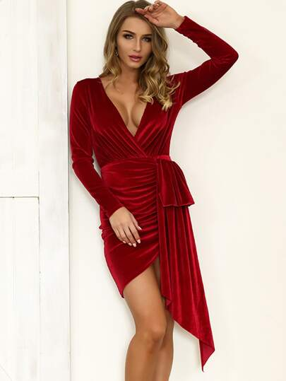 Joyfunear Plunge Neck Ruched Draped Velvet Dress