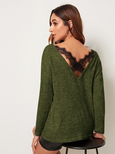 Contrast Lace Criss Cross V-Back Sweater