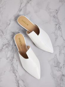 Irregular Detail Point Toe Mules