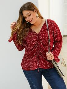 Plus Polka Dot Ruched Front Blouse
