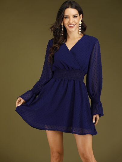 Swiss Dot Flounce Sleeve Shirred A-line Dress