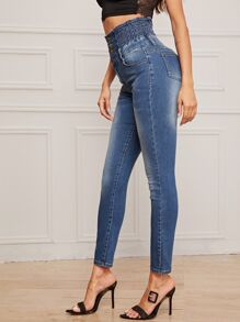 Shirred Waist Cat Whiskers Skinny Jeans