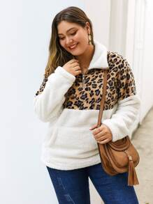 Plus Leopard Colorblock Zip Half Teddy Sweatshirt