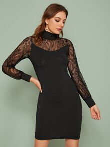 Mock Neck Lace Panel Bodycon Dress