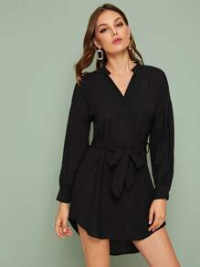 Notched Neck High Low Belted Shirt Dress