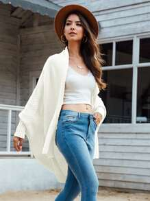 Dolman Sleeve High Low Open Front Cardigan