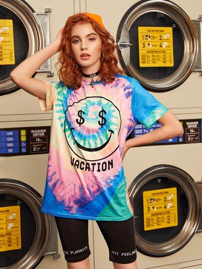 Tie Dye Letter Graphic Oversized Tee