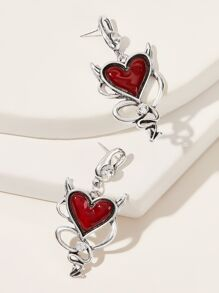 1pair Statement Heart Dangle Earrings