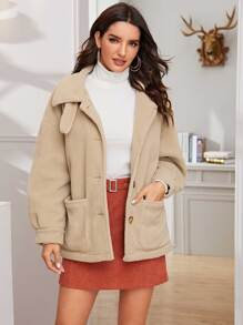 Solid Dual Pocket Single Breasted Teddy Coat
