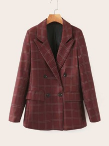 Plaid Double Breasted Lapel Blazer