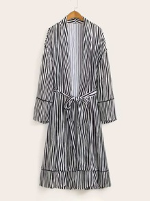 Striped Belted Open Front Longline Kimono