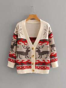 Christmas V-Neck Button Front Cardigan