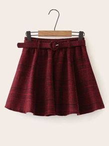 Tartan Belted Tweed Mini Skirt
