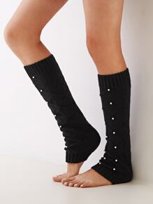 1pair Open Toe Faux Pearl Decor Knit Long Socks