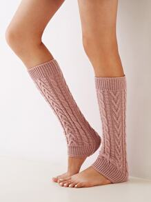 1pair Open Toe Braided Long Socks
