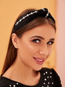 Faux Pearl & Rhinestone Decor Pleated Headband
