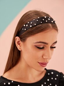 Rhinestone & Faux Pearl Decor Headband
