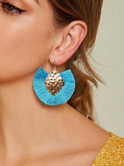 Textured Geometric Fan Tassel Drop Earrings 1pair