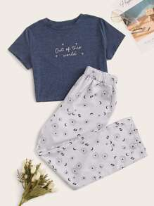 Graphic & Letter Print Pajama Set