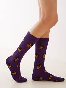 1pair Pumpkin Pattern Socks