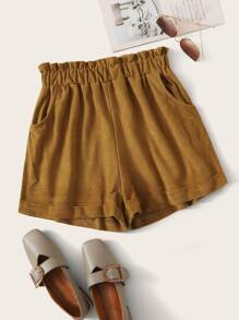 Paperbag Waist Suede Straight Shorts