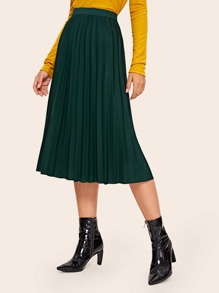 Solid Elastic Waist Pleated Skirt