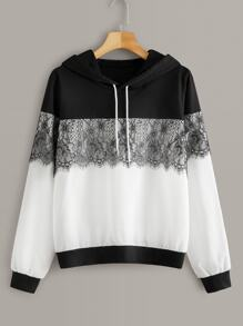 Two Tone Contrast Lace Hoodie