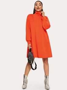 Neon Orange High Neck Sweatshirt Dress