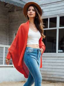 Open Front Batwing Sleeve Cardigan