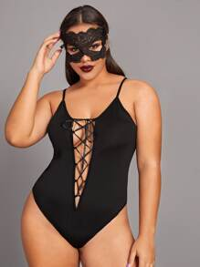 Halloween Plus Lace Up Front Teddy Bodysuit
