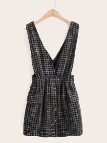 Pocket Front Plaid Tweed Suspender Dress