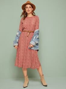 Ditsy Floral Shirred A-line Dress Without Belted