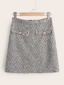 Zip Back Allover Pattern Tweed Skirt