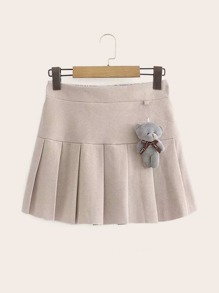 Elastic Waist Pleated Skirt & Bear Doll Pendant