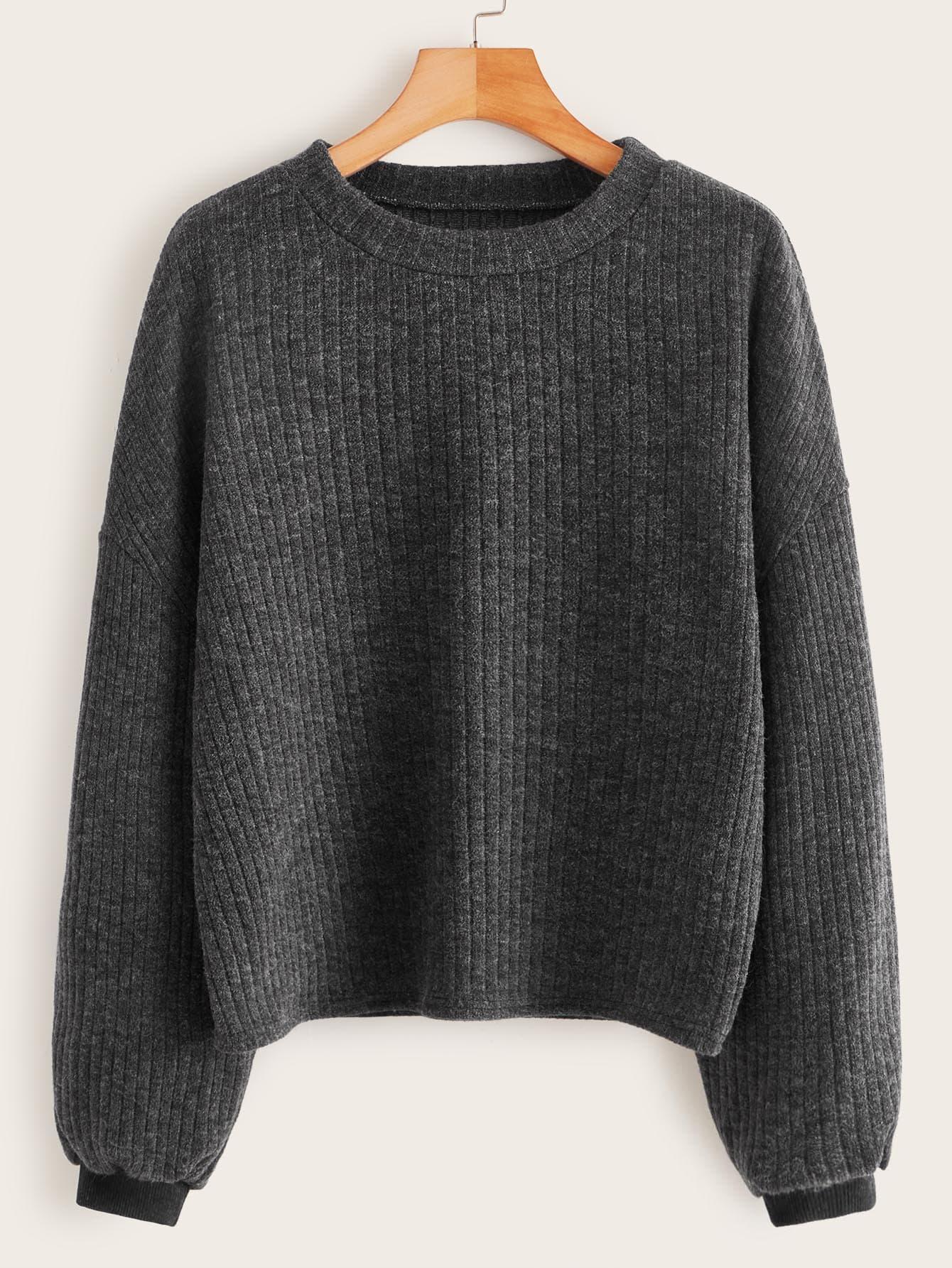 Drop Shoulder Ribbed Knit Sweater thumbnail