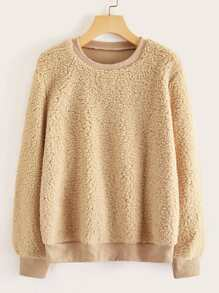 Drop Shoulder Solid Teddy Sweatshirt