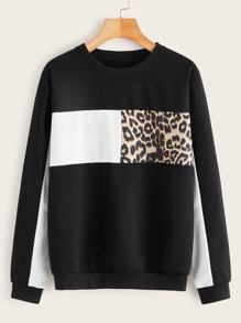 Cut And Sew Leopard Sweatshirt