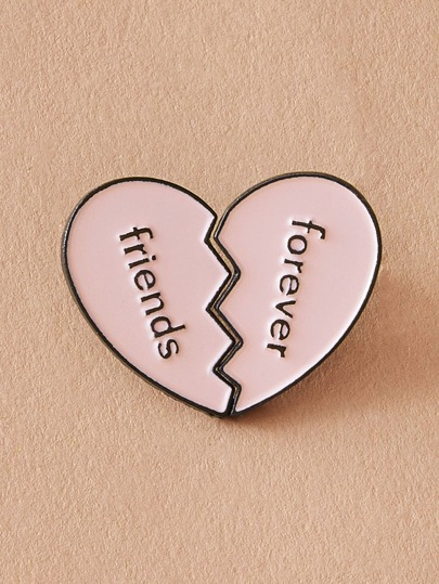 2pcs Letter Engraved Half Heart Brooches