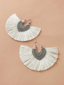 1pair Fringe Decor Drop Earrings