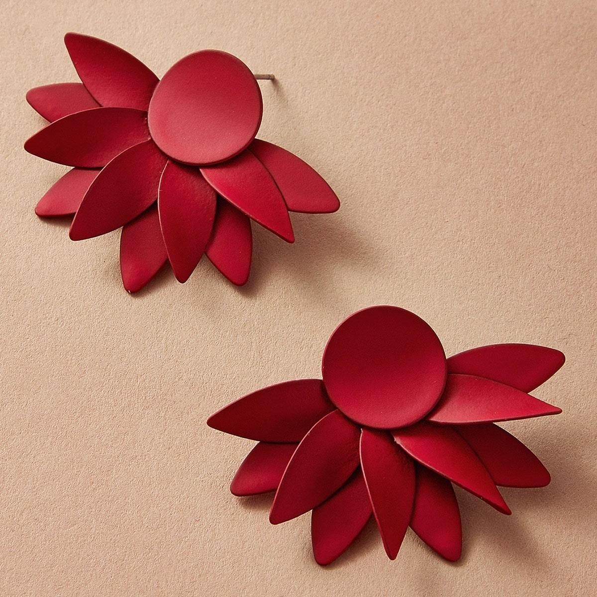 Серьги-подвески с цветами 1 пара