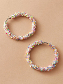 1pair Star Decor Round Hoop Earrings